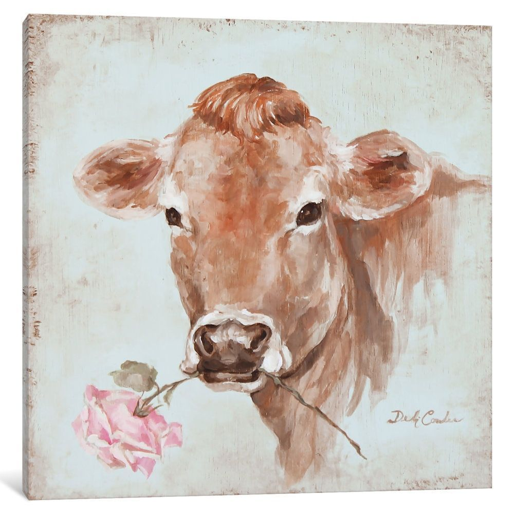icanvas french farmhouse series cow with rose by debi on icanvas wall art id=89579