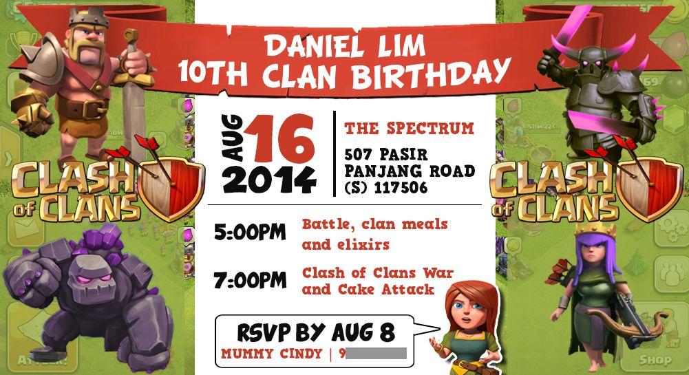 Clash of Clans Birthday Invitation Party EInvite Personalised