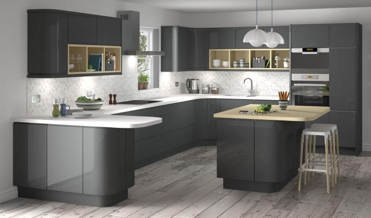 Lucido Senza Handleless style kitchen in graphite dark grey from