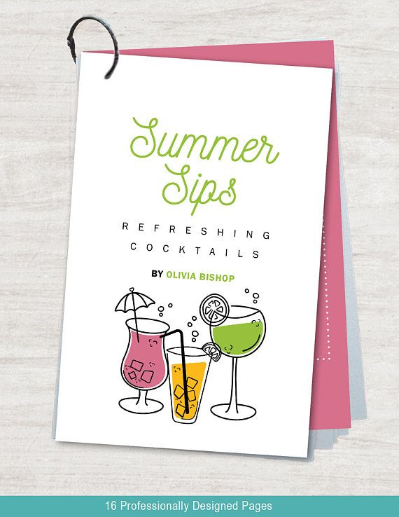 Summer Cocktail Drinks Recipe Template For Adobe InDesign Cookbook - Adobe indesign cookbook template