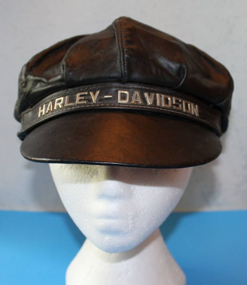 Vintage Harley Davidson Leather Motorcycle Hat Cap Usa