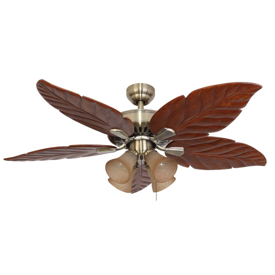 Shop Palm Coast San Martin Plus 52 In Aged Brass Downrod Or Flush Mount Ceiling