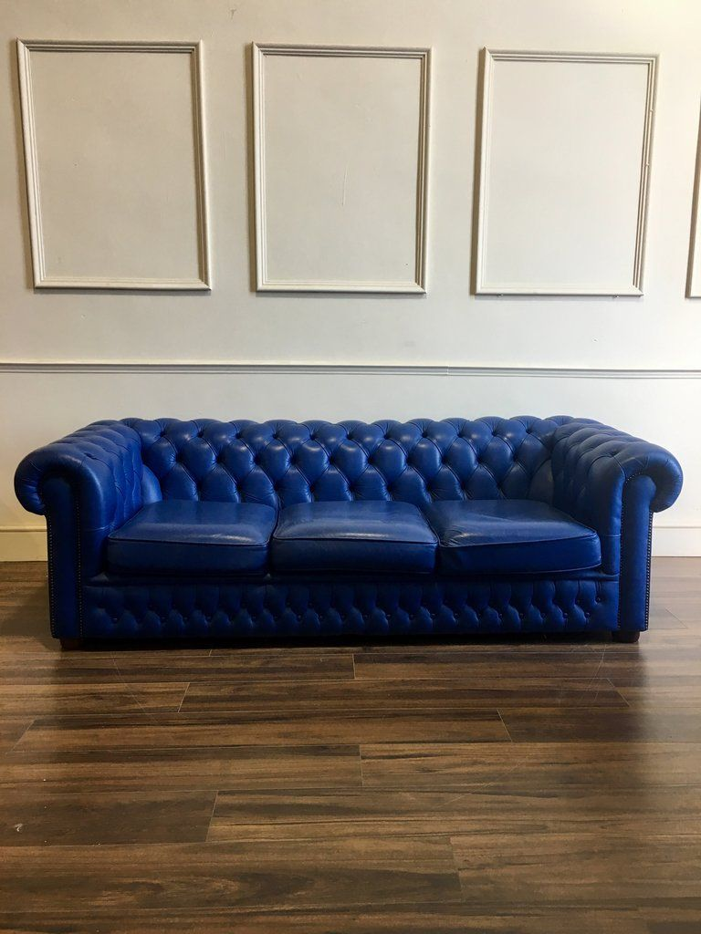 sofa blue color red and black sectional a real pop of colour royal leather chesterfield