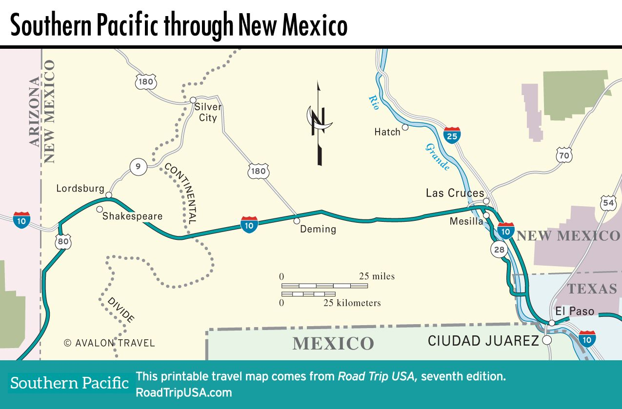 Map of Southern Pacific through New Mexico. | road trip ...