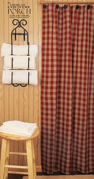 Wine Teadyed Buffalo Check Shower Curtain Americana Bathroom Primitive Curtains Plaid