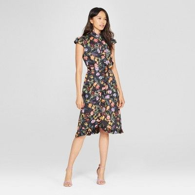 "f92577b6fe239 Women s Striped Button-Down Frilled Dress - Who What Wearâ"" 20Black White  XS  Button"