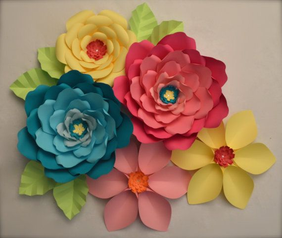 Giant Paper Flowers Set Of 5 By Luxyflowers On Etsy Craft Paper