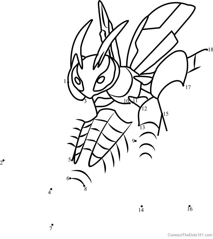 Pokemon Mega Beedrill Dot To Dot Coloring Pages Printable Coloring Pages Pokemon