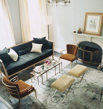 Love this leggy furniture with charcoal gray and chocolate brown.  Gold and silver accents both work there.