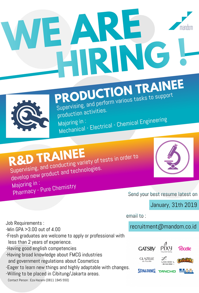 Mandom Indonesia are looking for candidates to be R&D
