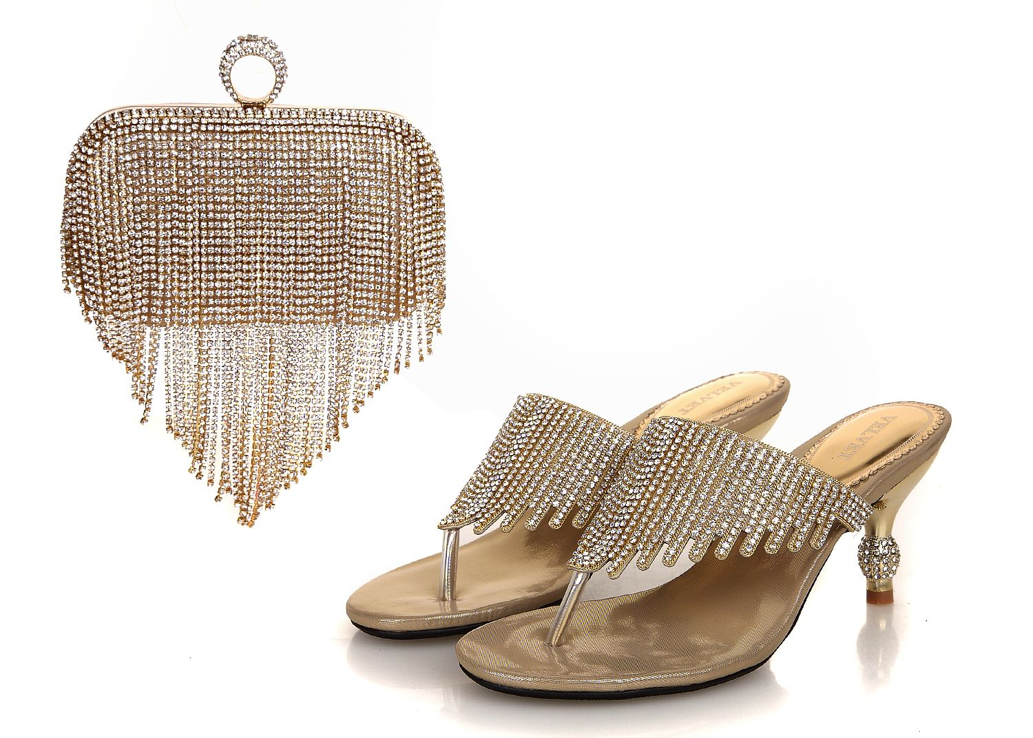 African Fashion High Heel Shoes Purse For Party Wedding Gold Sl15 01