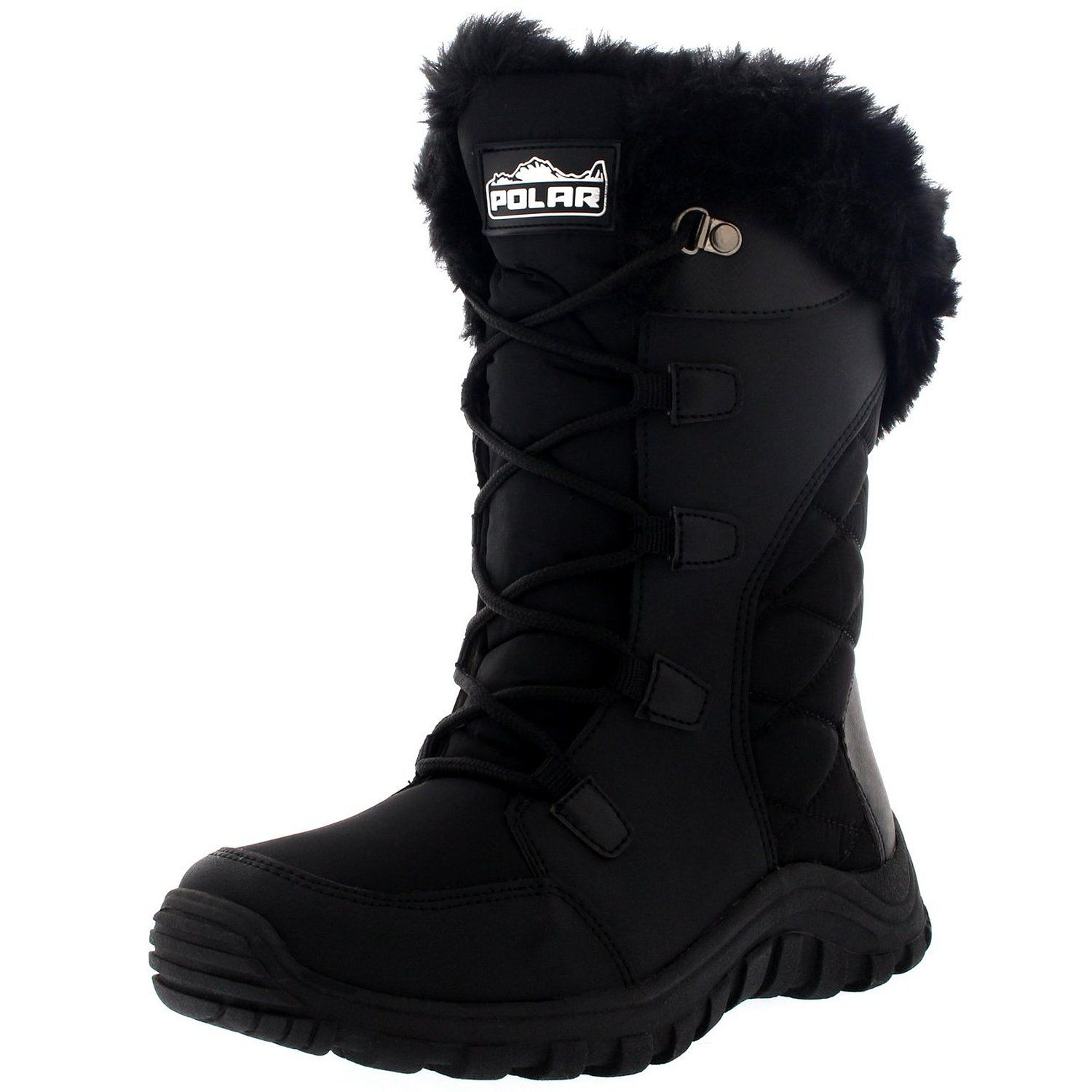 Womens Quilted Lace Up Waterproof Fur Lined Cuff Snow Rain Duck Boot *** Want additional info? Click on the image.