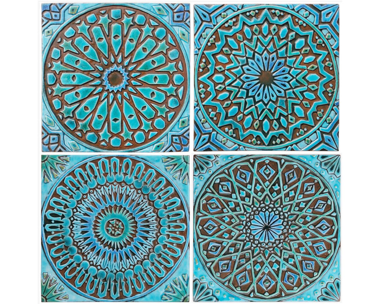 Moroccan inspired hand painted ceramic tiles for splashback or 4 moroccan wall hangings ceramic tiles wall decor wall art dailygadgetfo Image collections