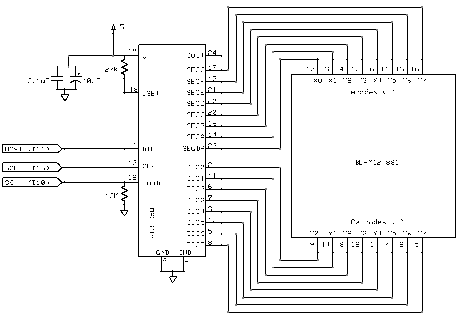 This post describes how I interfaced a 8x8 LED matrix with
