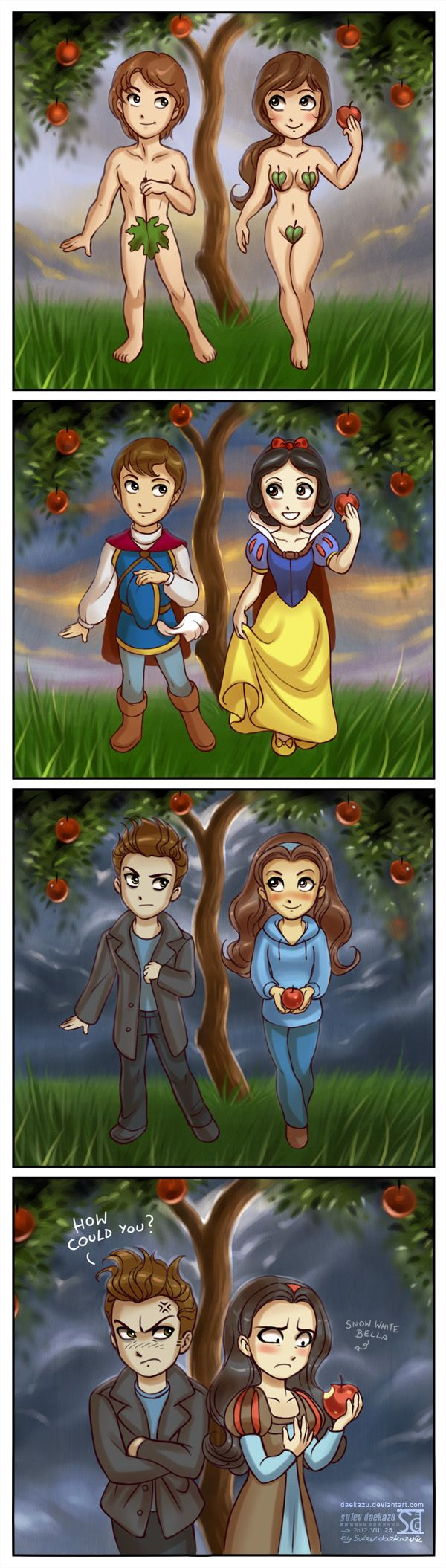 Adam & Eve / the Prince & Snow White / Edward & Bella / Edward & Snow White (Cross Overs by Daekazu @deviantART) #SnowWhiteAndTheSevenDwarfs #SnowWhiteAndTheHuntsman #Twilight