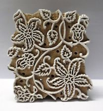INDIAN WOODEN HAND CARVED TEXTILE PRINTING ON FABRIC BLOCK / STAMP FLORAL DESIGN