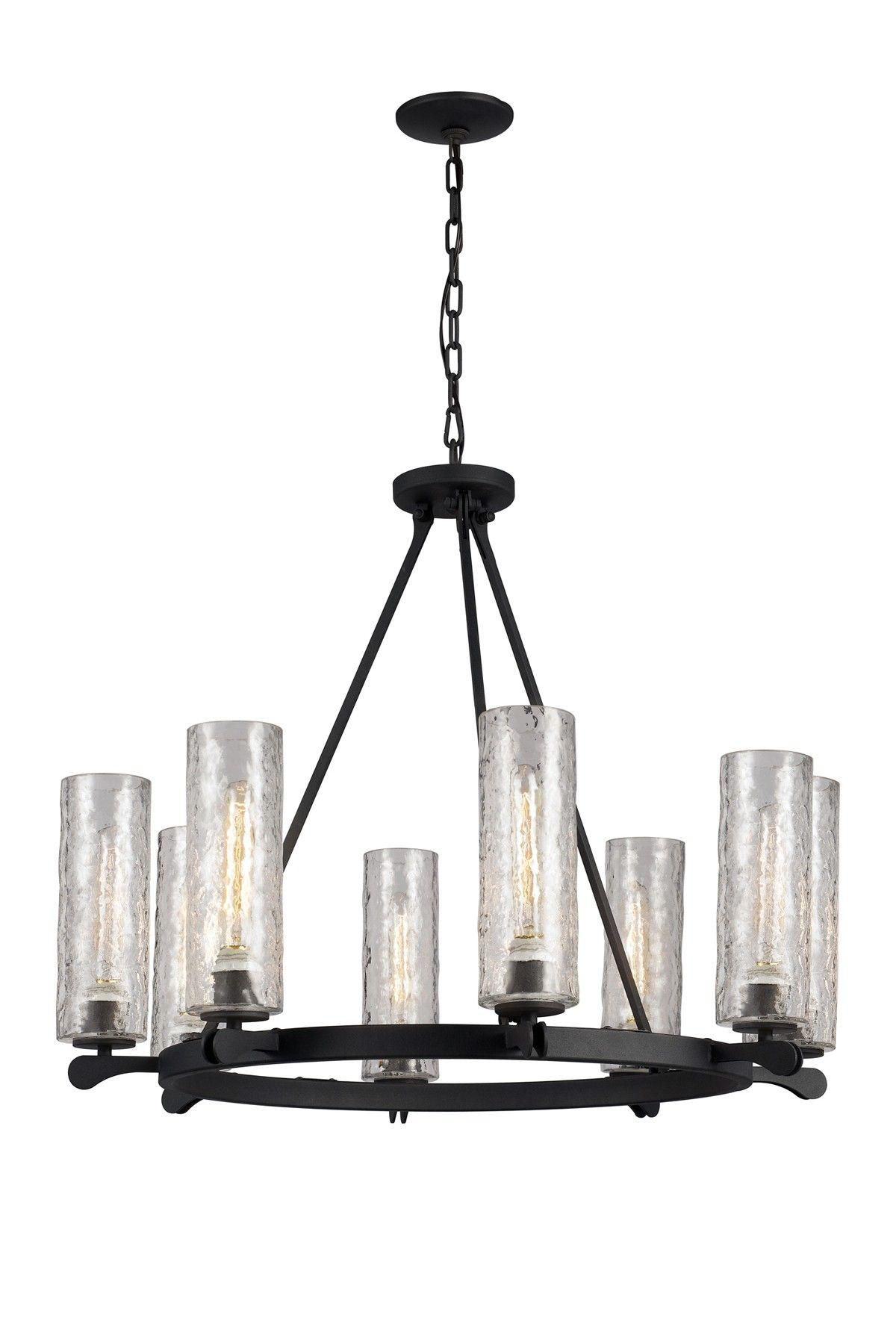 Hammered glass 8 light chandelier wheel lighting pinterest trans globe lighting black handmade eight light wheel chandelier arubaitofo Image collections