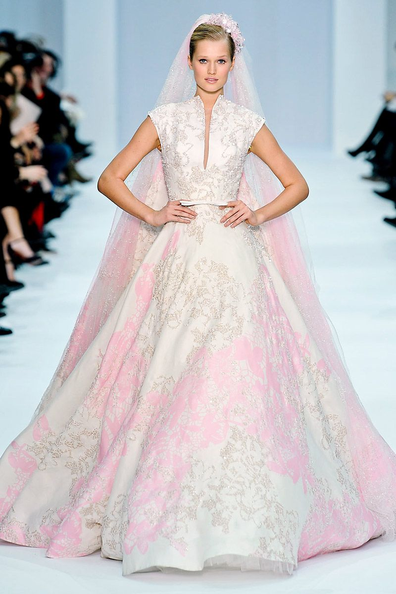 Designer eli saab pink and white couture wedding dressgown and veil