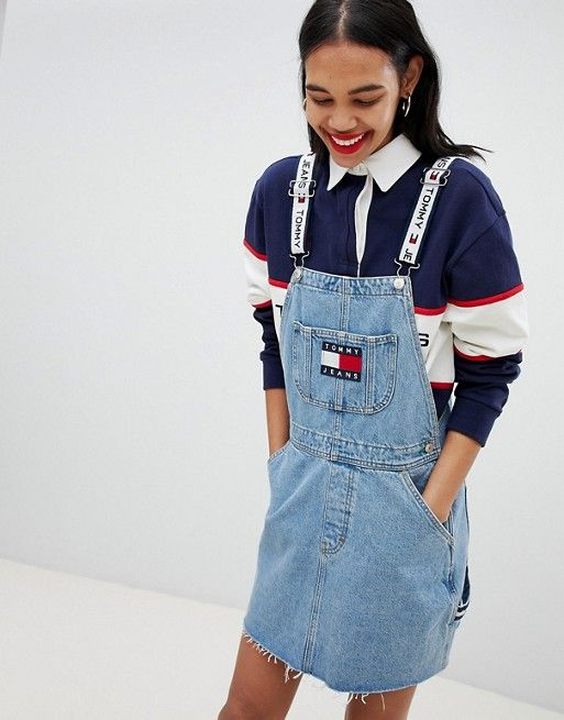2373c727 Tommy Jean 90s Capsule 5.0 Denim Overall Dress | Things Wanted | Denim  overall dress, Denim dungaree dress, Overall dress