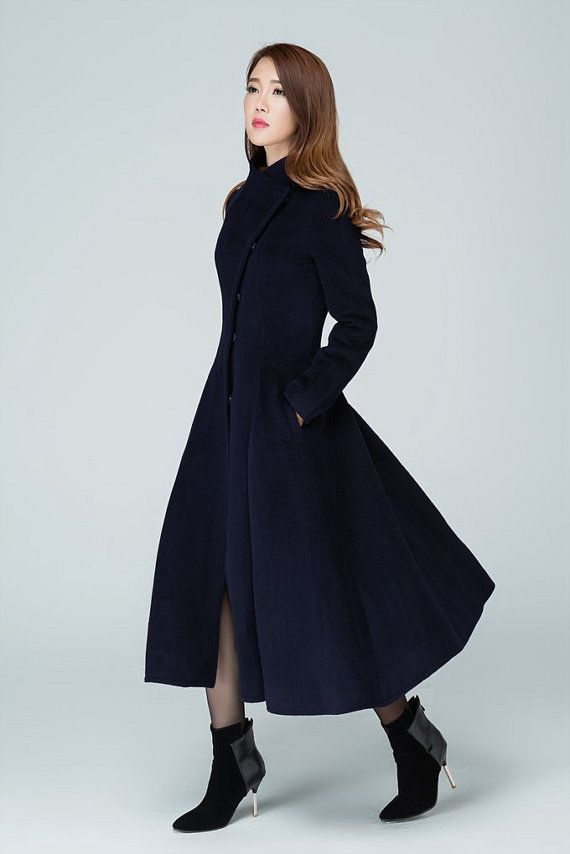 99026a1f1 Long wool coat, wool coat, winter coat, navy coat, womens coats ...