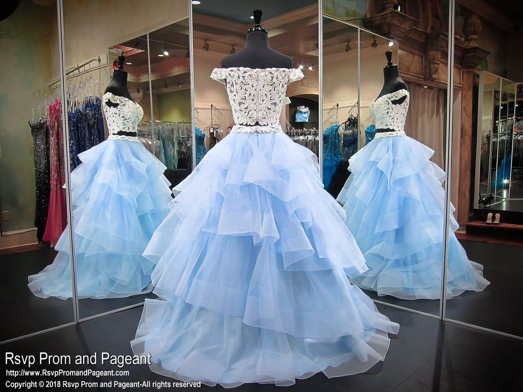 White And Baby Blue Multi Layered Lace Two Piece Prom Dress Ball Gown Debutante Dresses Gowns White Prom Dress [ 768 x 1024 Pixel ]
