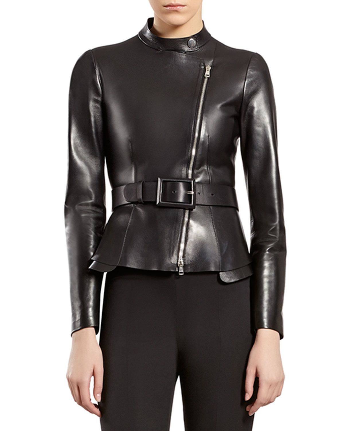 Gucci Black Leather ZipFront Jacket in 2020 Jackets