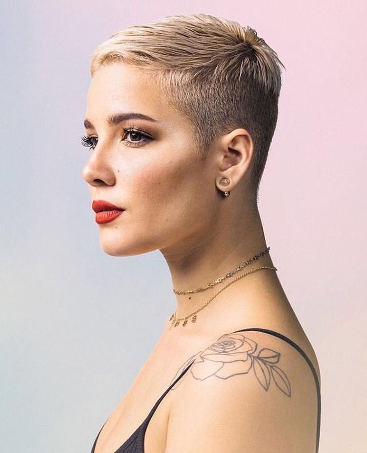 Pixie Haircut Neckline Thebluequeen♠ Halsey Hair Super Short Hair Very Short