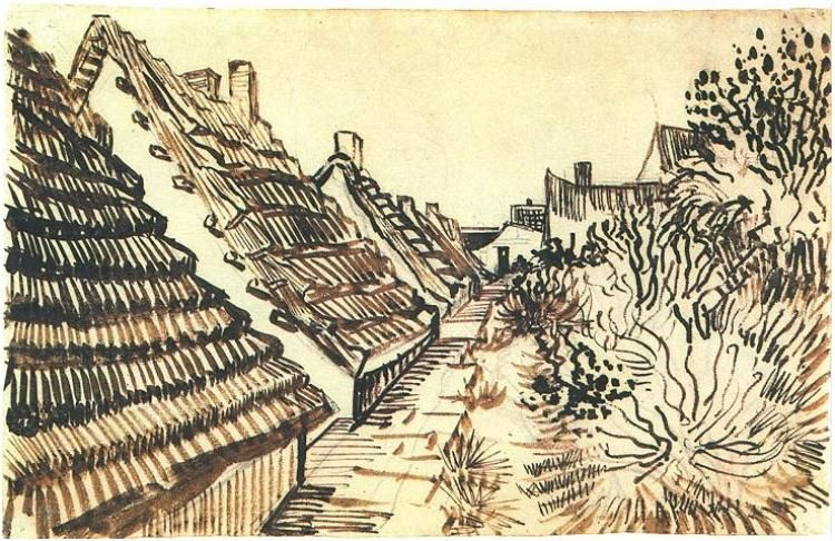 Drawing, Reed pen Arles: June - early in month, 1888 Private collection Image Only - Van Gogh: Street in Saintes-Maries