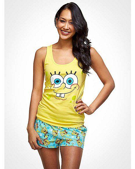 Cute Ladies Womens Spongebob Squarepants Knee Length Short Sleeves Nightdress