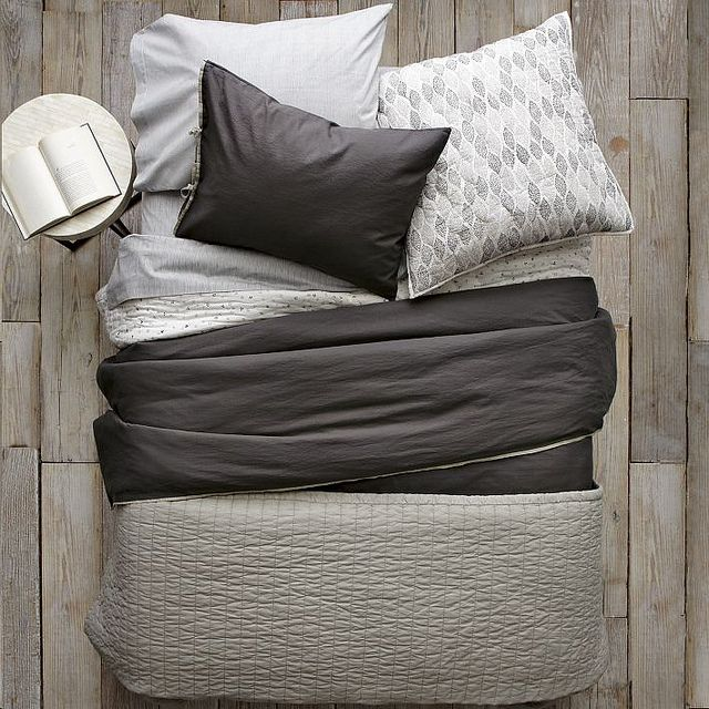 Gorgeous Gray And White Bedrooms: Beautiful Black White And Grey Bedding Via West Elm