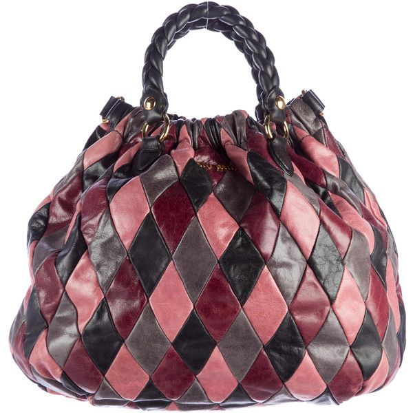 Pre-owned Miu Miu Patchwork Harlequin Satchel ( 595) ❤ liked on Polyvore  featuring bags c49498a53f95a