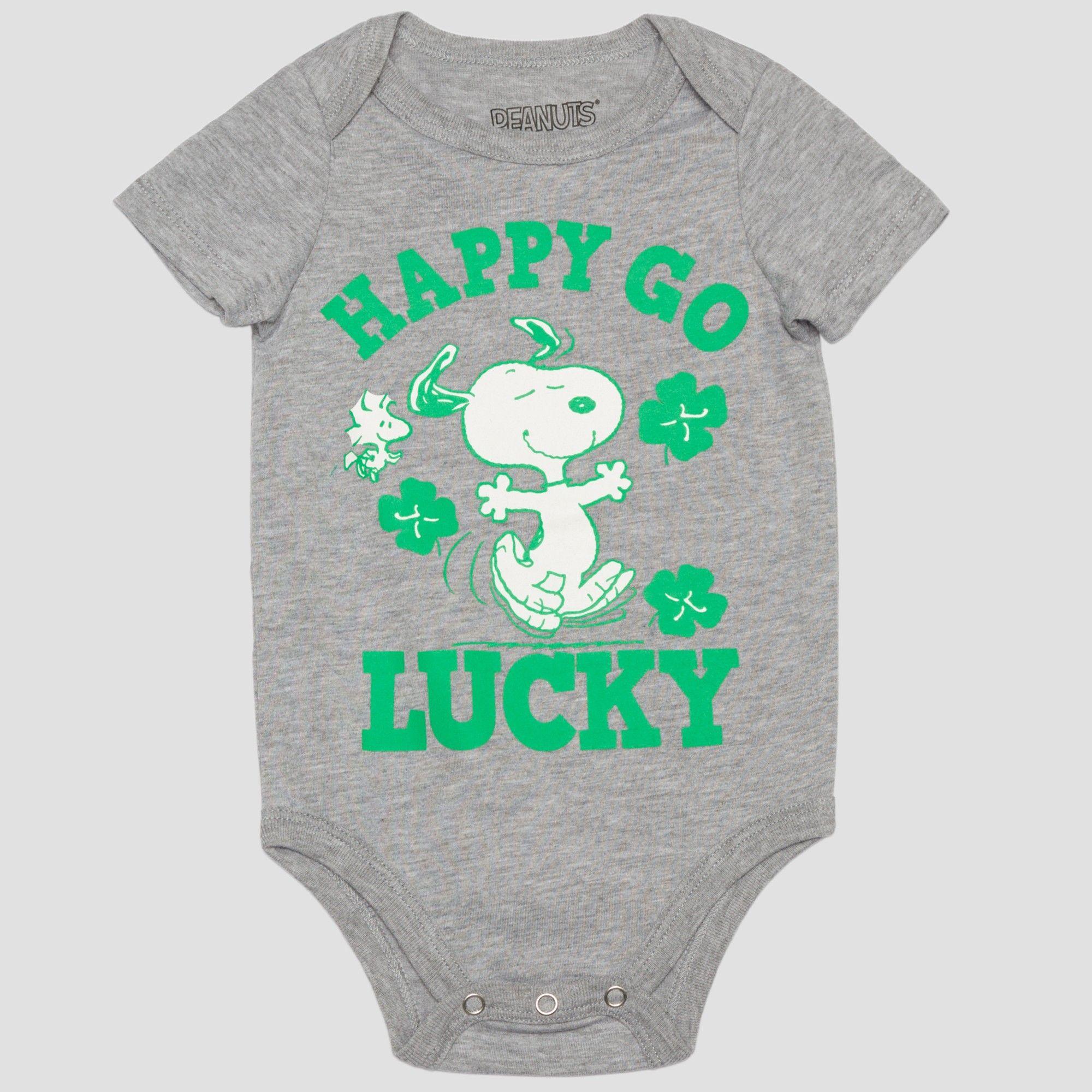 198c5d8c9 Peanuts Baby Boys' Snoopy 'happy GO Lucky' Short Sleeve Bodysuit -  Gray/Green 24M