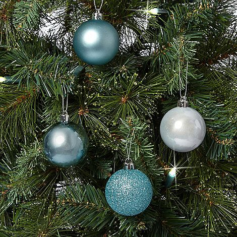 Debenhams Set of 16 aqua Christmas baubles- | Debenhams - Debenhams Set Of 16 Aqua Christmas Baubles- Debenhams Teal
