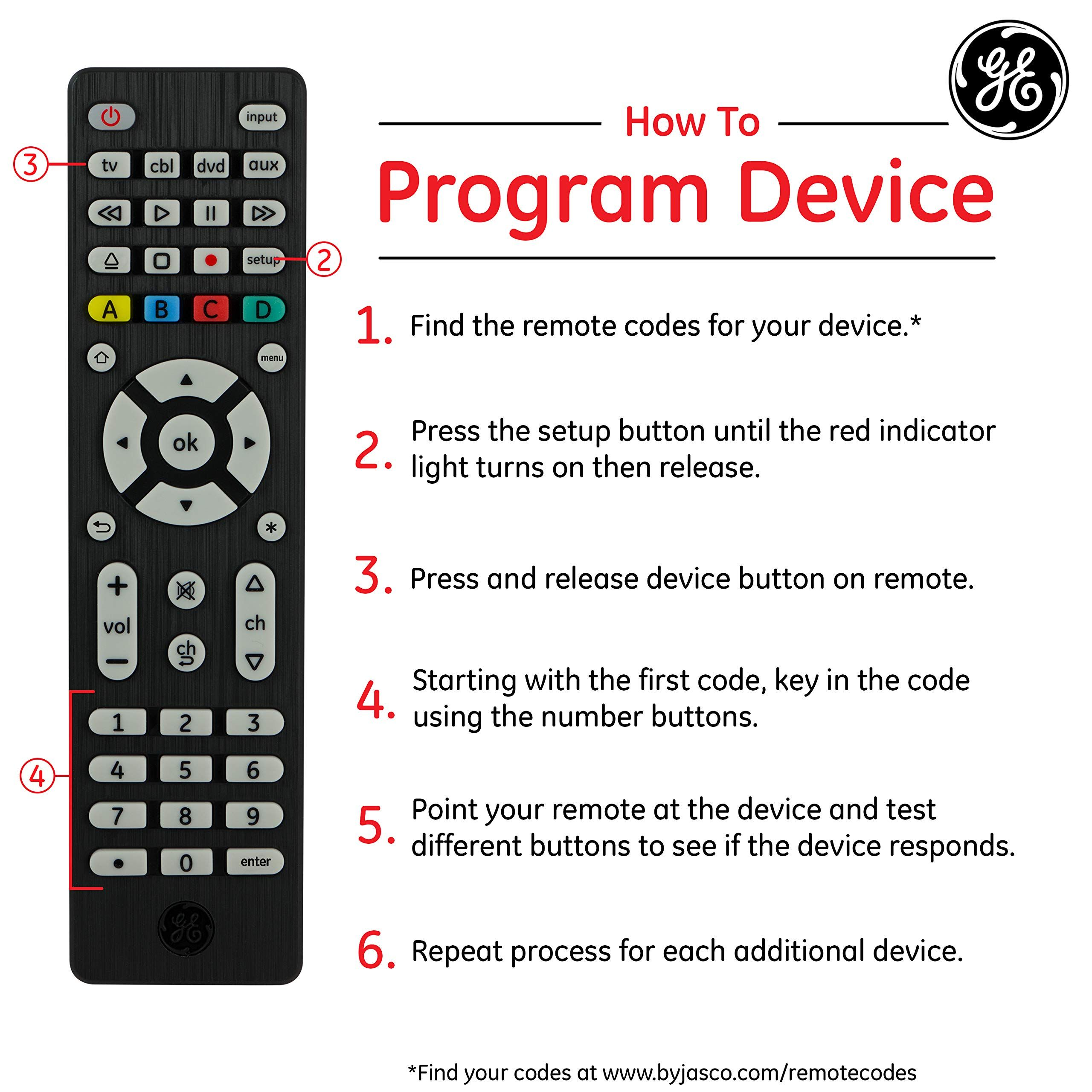 GE 4 Device Universal Remote, Works with Smart TVs, LG