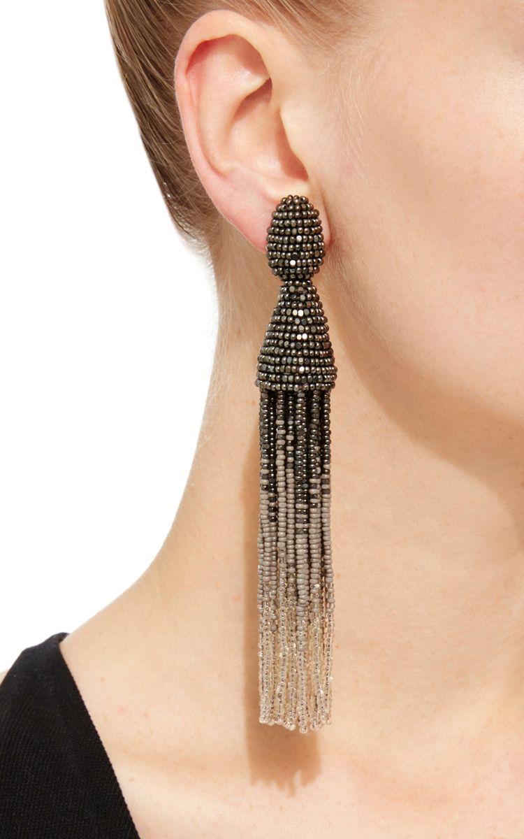 64e89422bb503 Oscar de la renta Gunmetal Ombré Tassel Clip On Earrings in Gray .