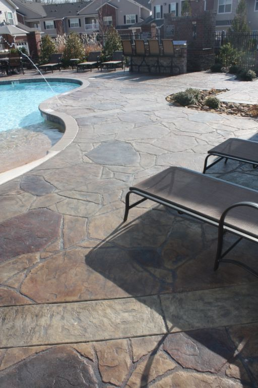 Concrete Pool Deck Ideas a decade ago the idea of a concrete pool deck might have seemed both unappealing and ludicrous but with changing times innovative new techniques and Arizona Flagstone Concrete Stamp Wwwcalicoproductscom