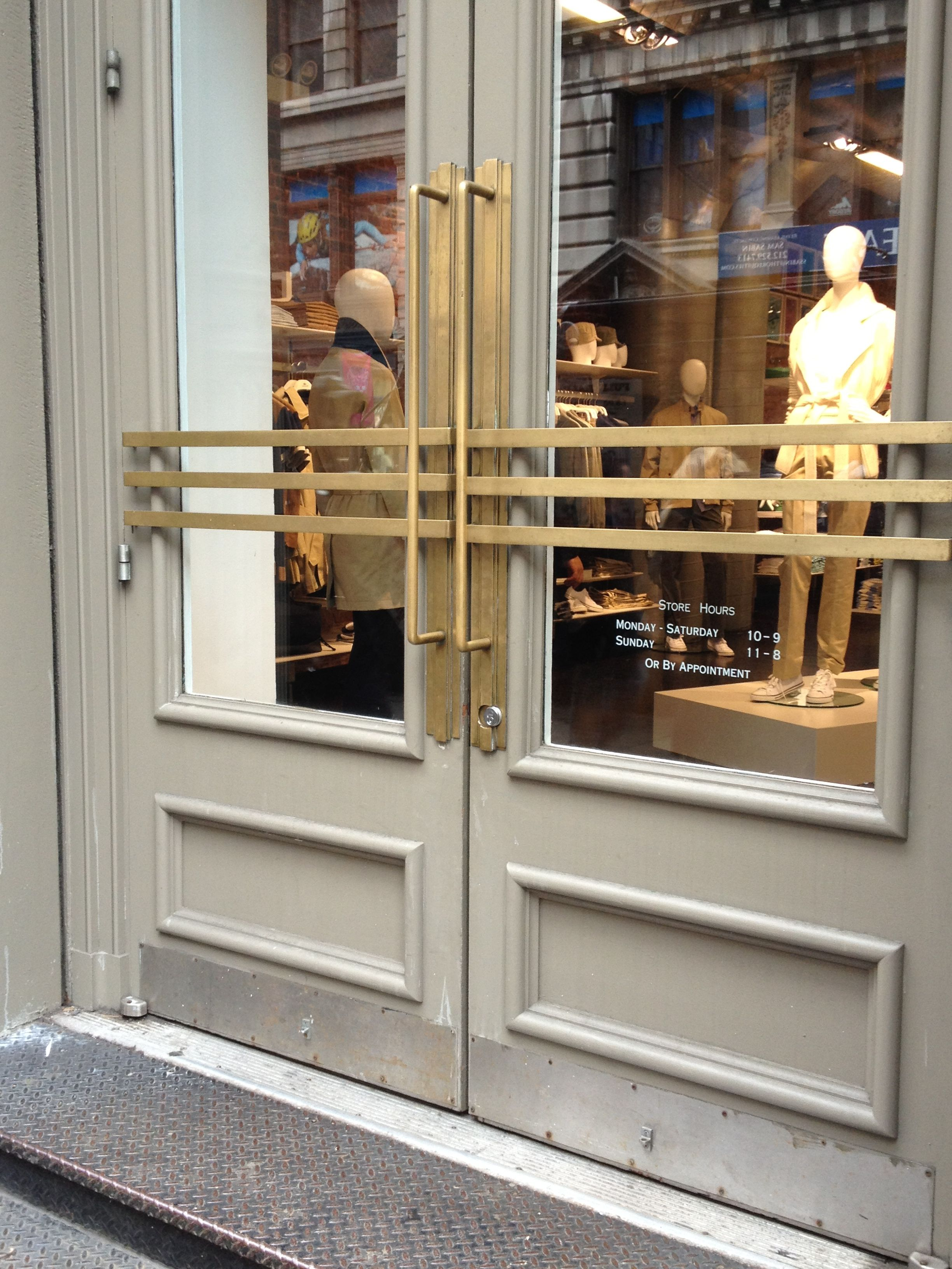 Brass Art Deco Handles On Soho Shop Door In New York Via Lisa Ferguson Interior Design Art Deco Door Door Handle Design Modern Art Deco