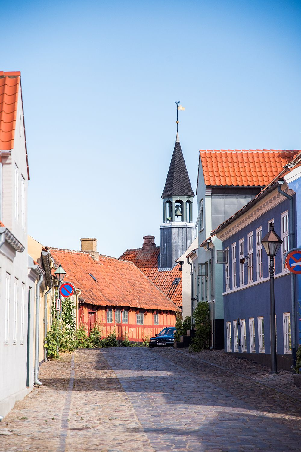 Ebeltoft Denmark Colorful Cobblestone Streets A Beautiful