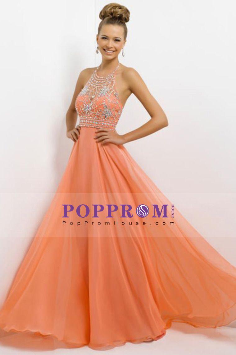 2014 Sexy Beaded Bodice Halter Prom Dress A Line Chiffon Floor-Length Dresses