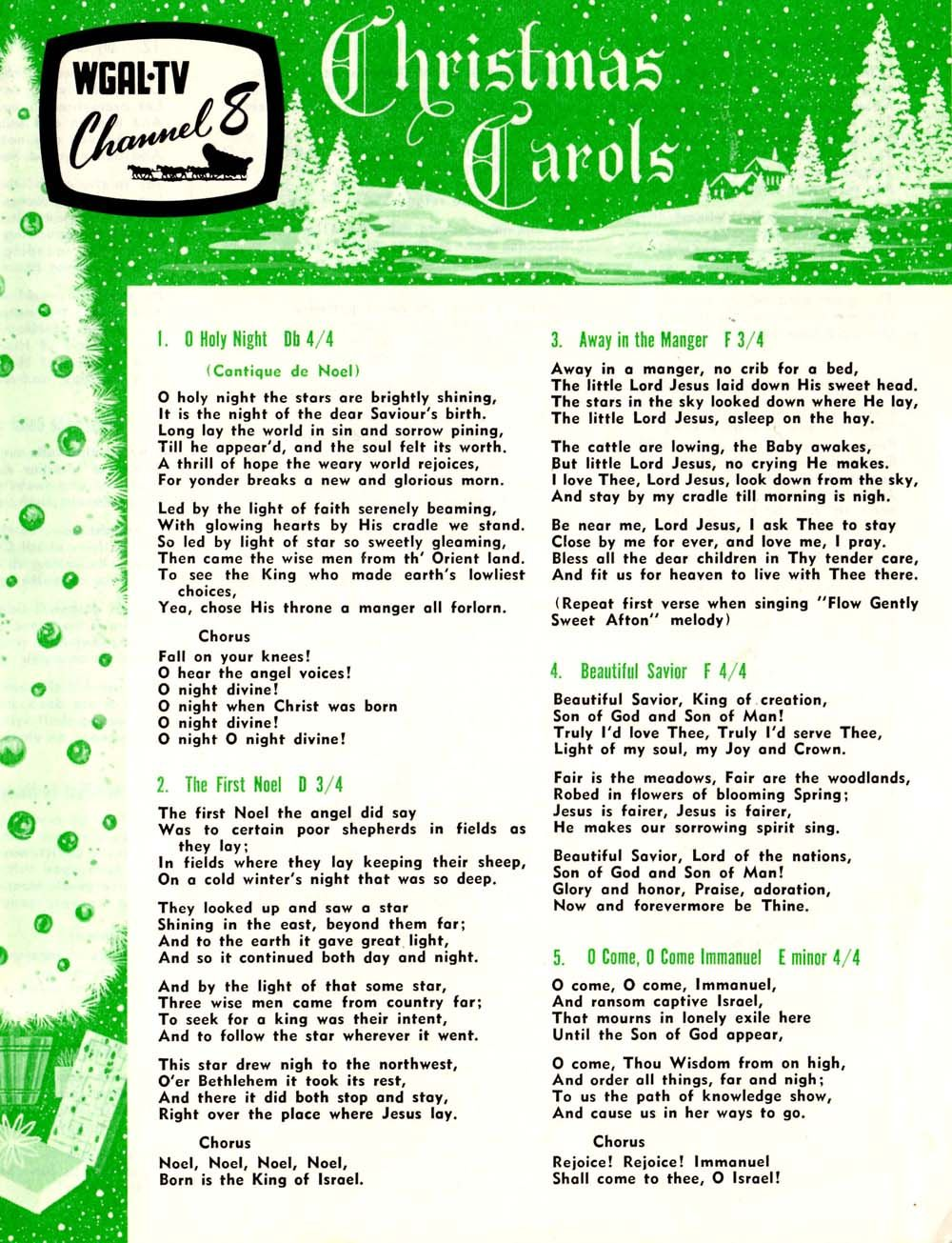 local television station wgal channel 8 has distributed christmas carol lyric sheets for several decades and continues to do so today - What Do The Lonely Do At Christmas Lyrics