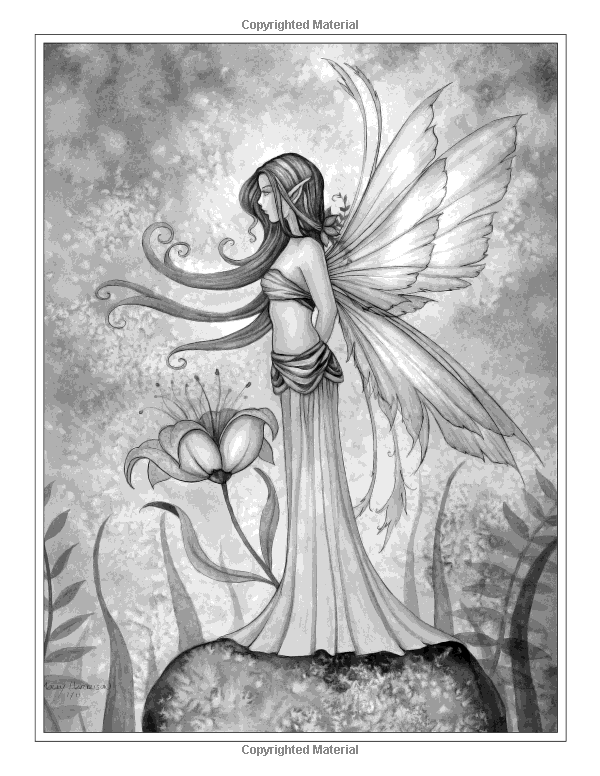 A World of Fairies - A Fantasy Grayscale Coloring Book for Adults ...