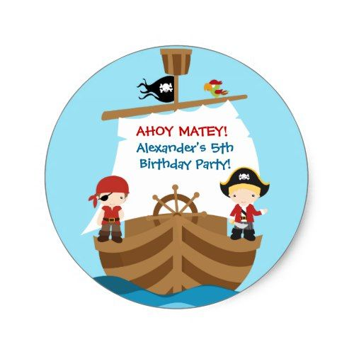 Pirate Ship Birthday Party Sticker   Zazzle.com   Birthday