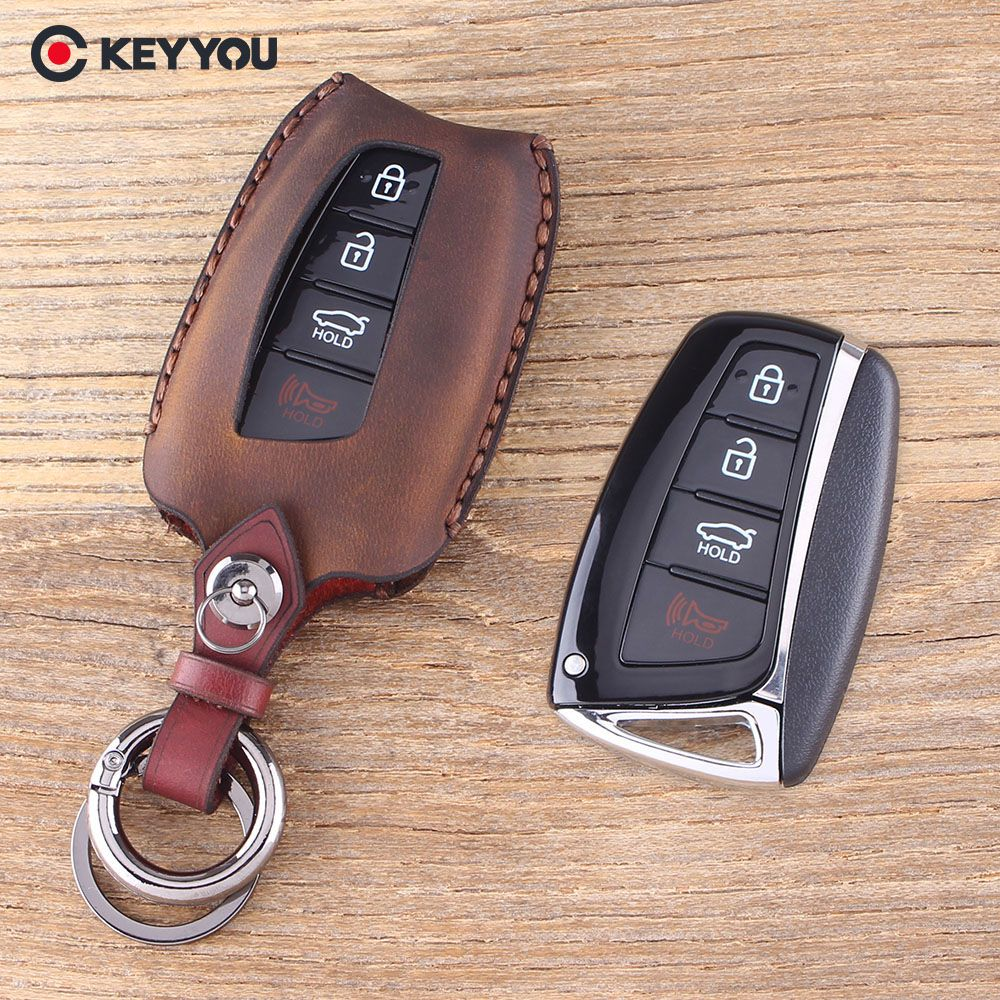 Keyyou Key Shell 4 Buttons For Hyundai Genesis Santa Fe Equus Azera Genuine Leather Key Shell Car Key Case Fob Review Leather Key Genuine Leather Key Case
