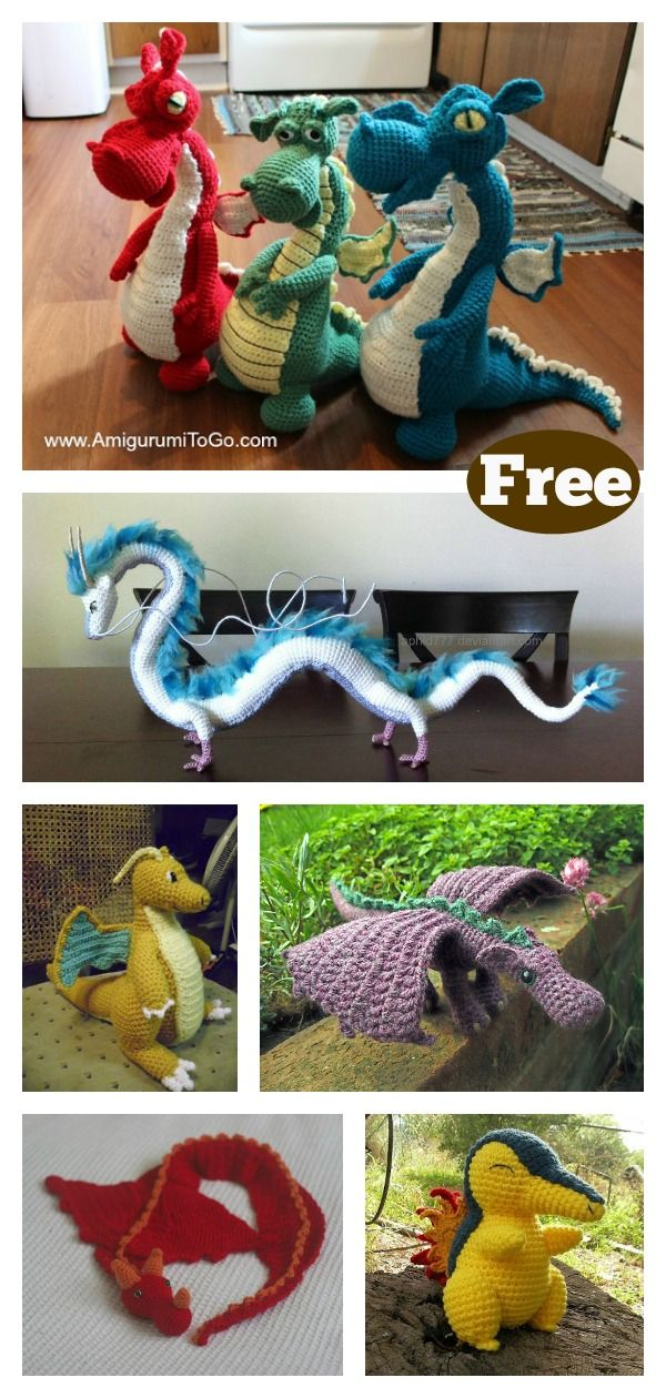 Dragon Free Crochet Pattern Roundup #crochetanimalamigurumi