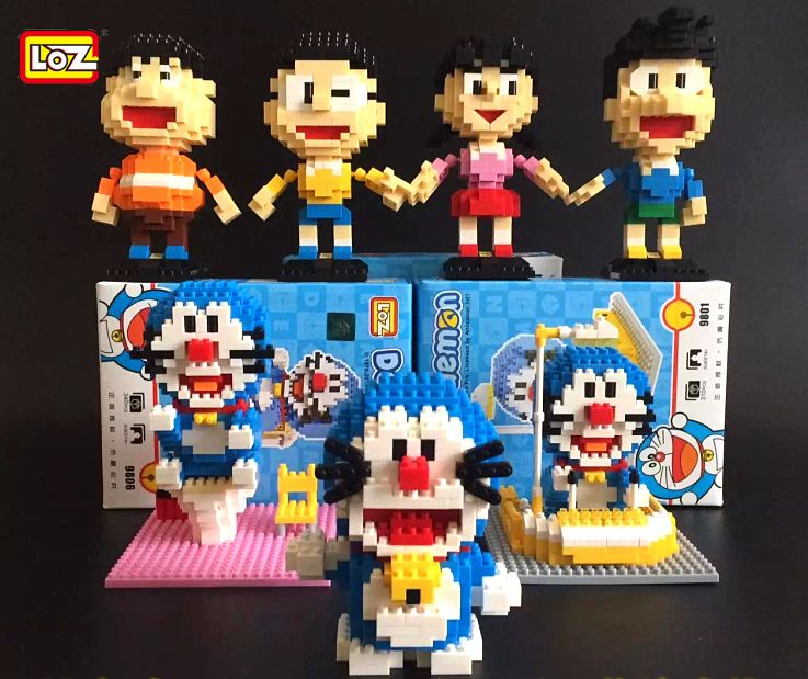 full set of loz doraemon pretty cute eh ドラえもん baby potty educational toys building blocks