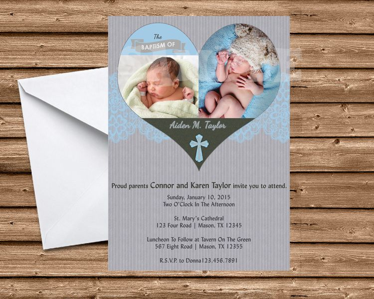 Heart Blue Boy Baptism Invitation With Images Baptism Invitations Boy Baptism Communion Invitations
