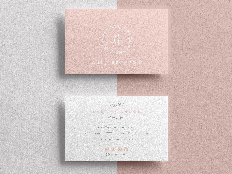 Elegant Watercolor Business Card Feminine Business Card Template Diy Templa Photography Business Cards Template Photography Business Cards Diy Business Cards