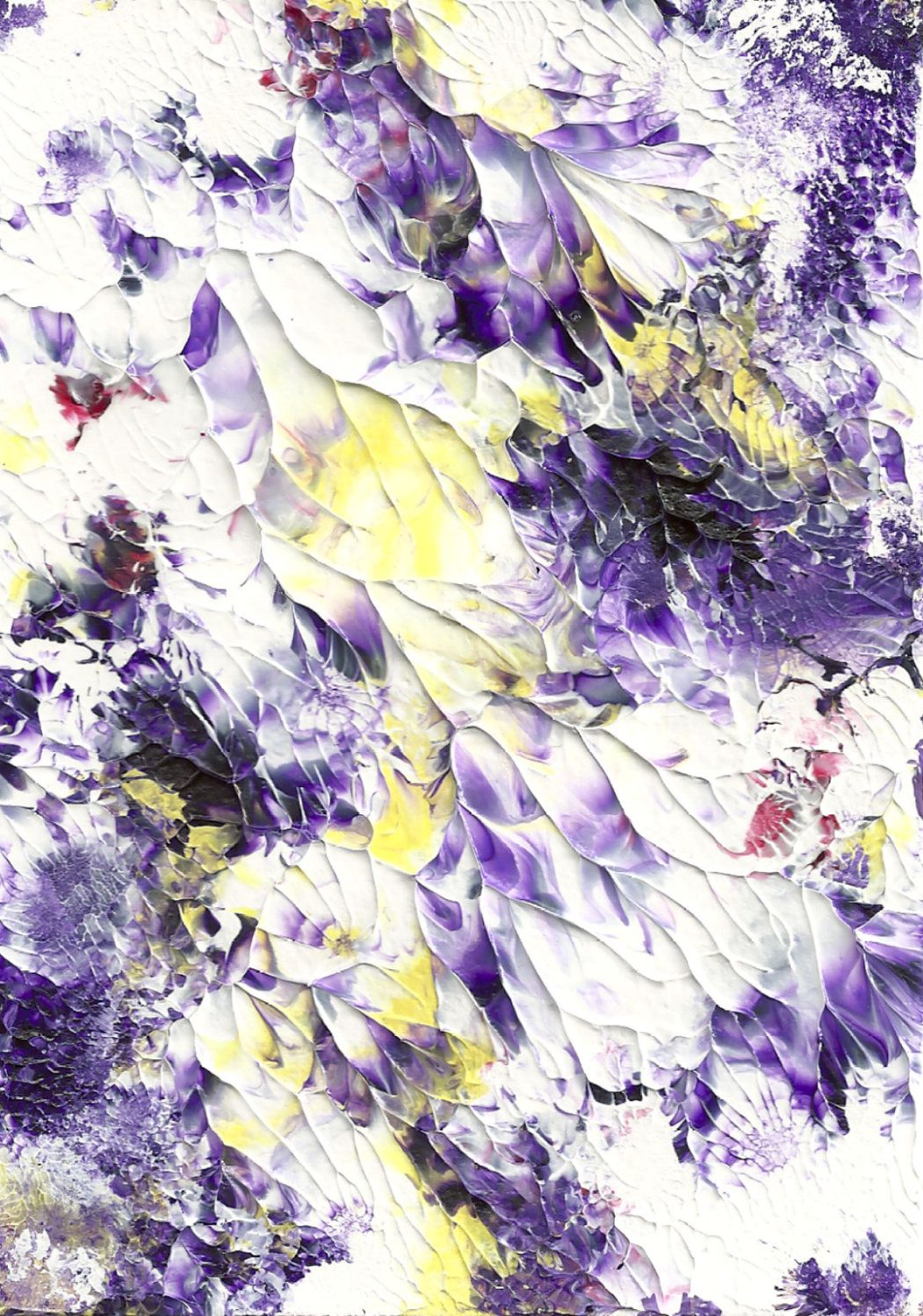 Abstract acrylic fine art painting purple and yellow