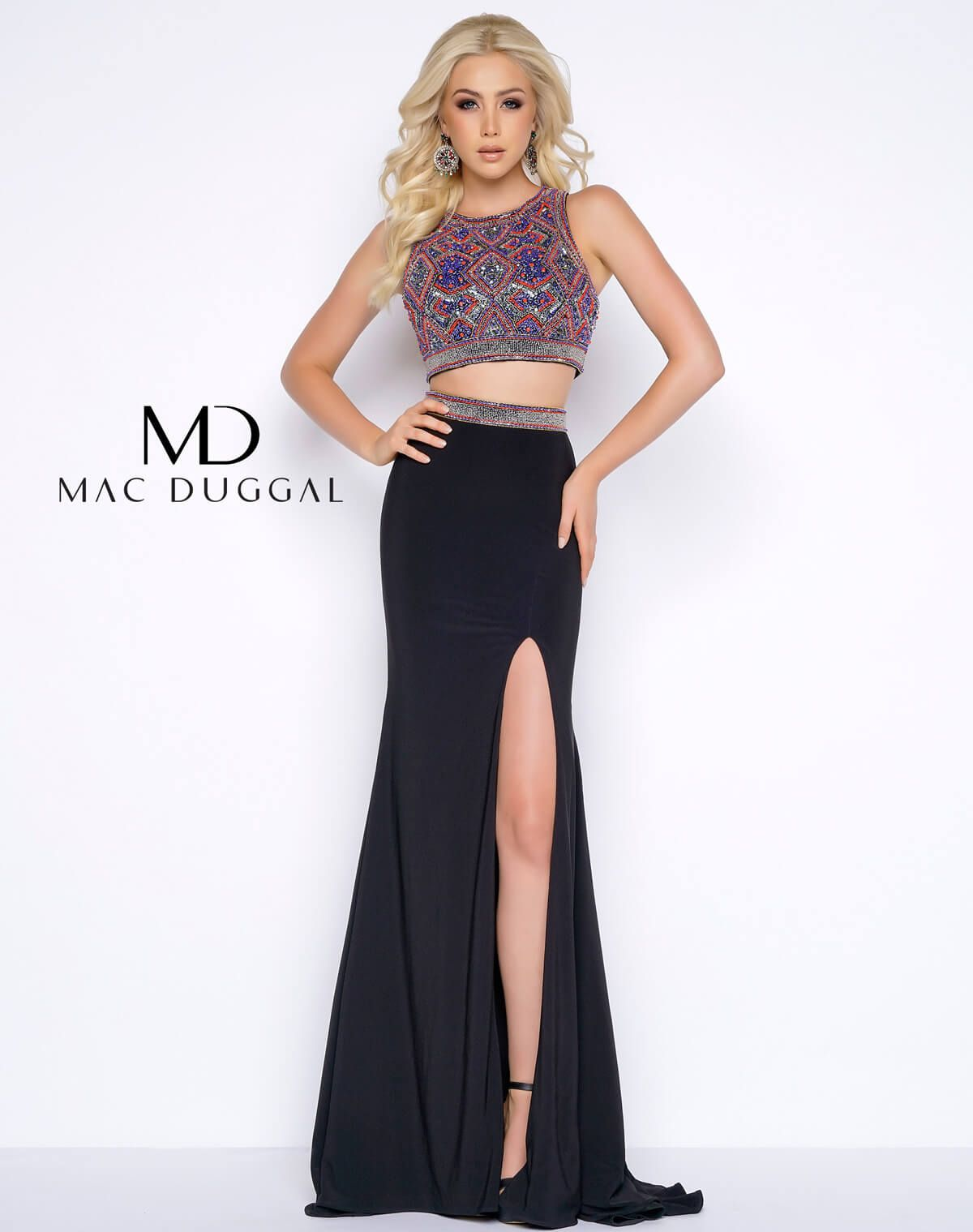 Elegant two pieces fully beaded bodice mac duggal a style dress
