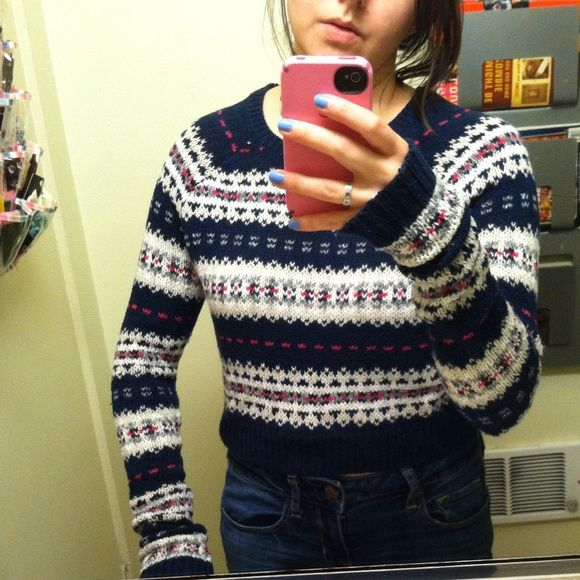Abercrombie & Fitch fair isle crop sweater small